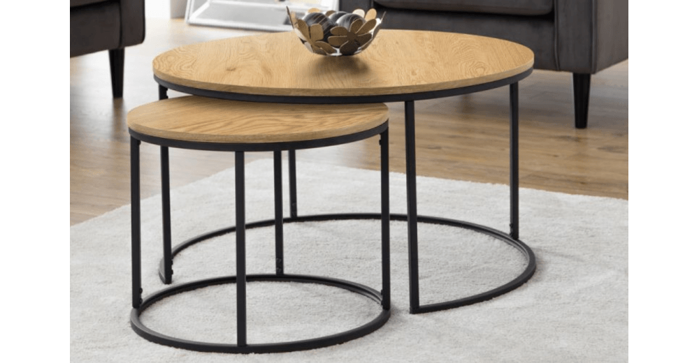 Bellini Round Nesting Coffee Table Oak, Nesting Coffee Tables Round